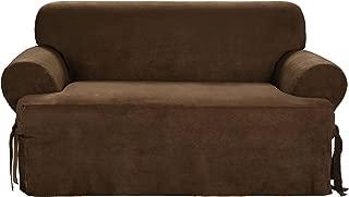 SureFit Soft Suede T-Cushion - Sofa Slipcover - Chocolate