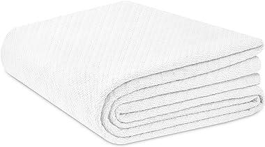 COTTON CRAFT - Super Soft Premium Cotton Herringbone Twill Thermal Blanket - Full/Queen White