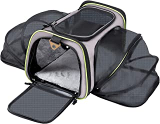 Q-Hillstar Pet Carrier Airline Approved, Expandable Foldable Soft-Sided Dog Carrier, 3 Open Doors, 1 Reflective Tapes, Pet...