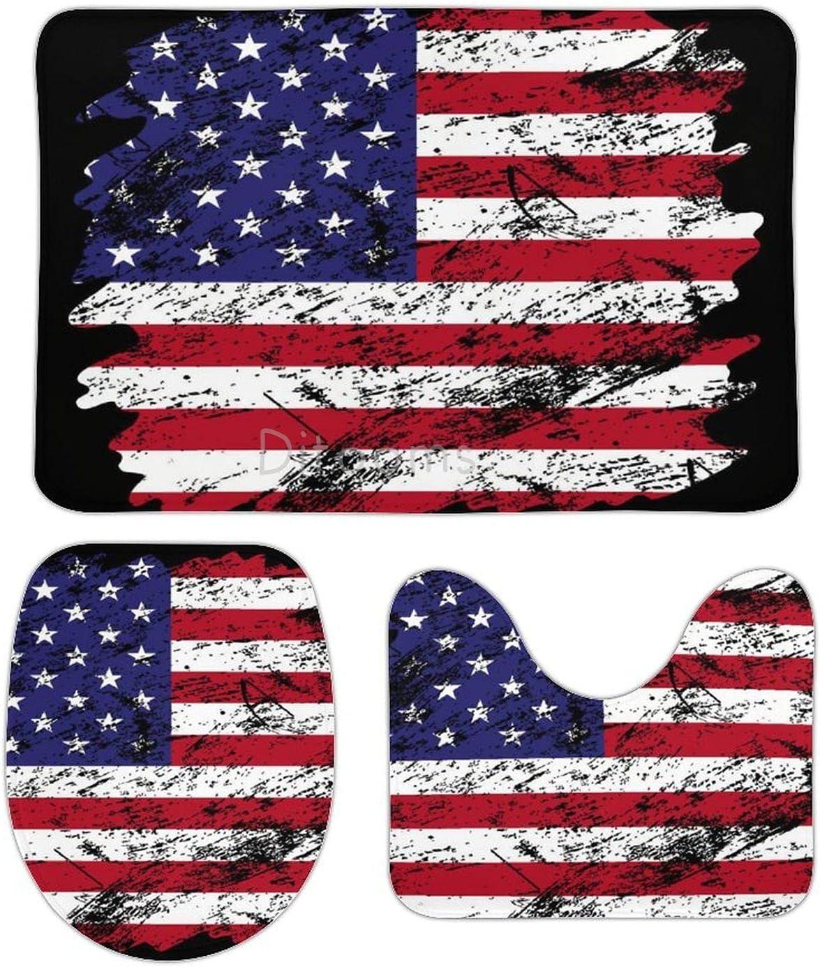 3 Pieces Set USA Flag Brush Background Max 90% OFF Old Bathroom San Diego Mall R