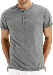 Mr.Zhang Men's Casual Slim Fit Short Sleeve Henley T-Shirts Cotton Shirts