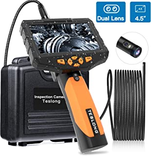 """Teslong Inspection Camera, 1080p Dual Lens 4.5"""" Screen Endoscope with Toughened Glass,.."""