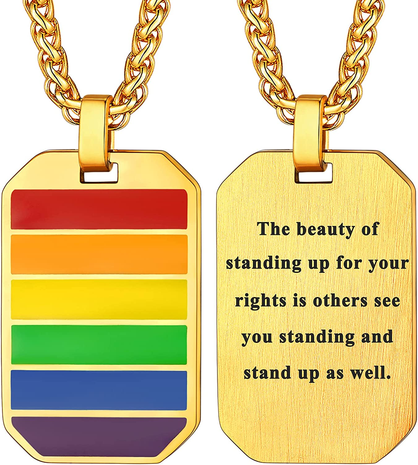 U7 Custom ID Tag Pendant Stainless Steel Engrave Text Quote Mantra Jewelry Military Dog Tags Personalized for Men Women Necklace with 22