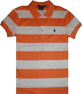 Sport Women's Short Sleeve Rugby Polo Shirt White/Orange Stripes