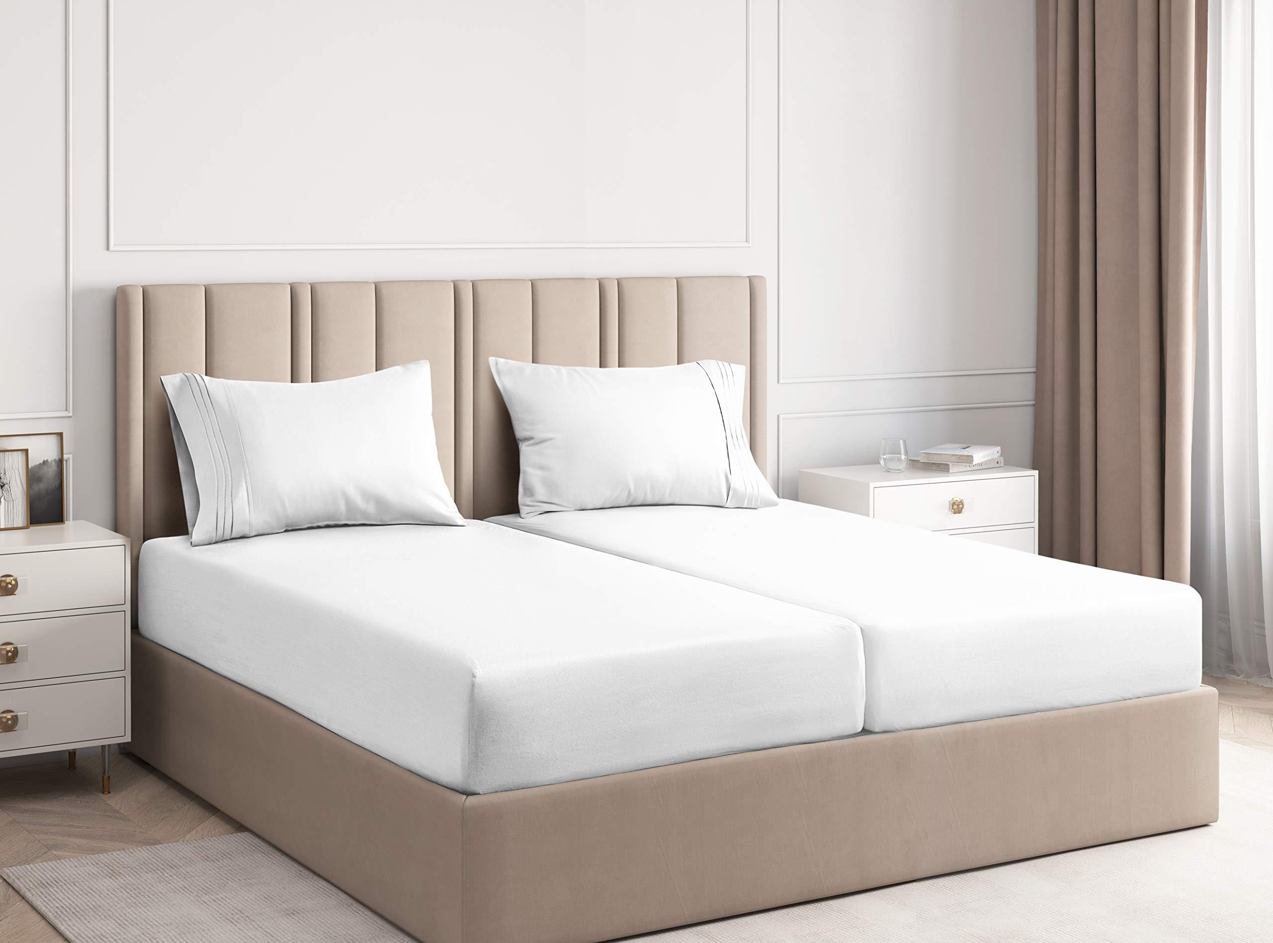 Split King Sheets for Adjustable Beds - Split King Adjustable Bed for Adjustable  Mattress - Split King Sheet Sets For Adjustable Beds Deep Pocket - Deep  Pocket Split King Sheets - Adjustable