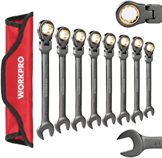 WORKPRO 8-piece Flex-Head Ratcheting Combination Wrench Set, Cr-V Constructed, Nickel Plating with Organizer Bag