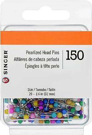 Singer 07050 Pinzas Rectas de Cabeza perlada, tamaño 20, 150 Unidades, Multicolor