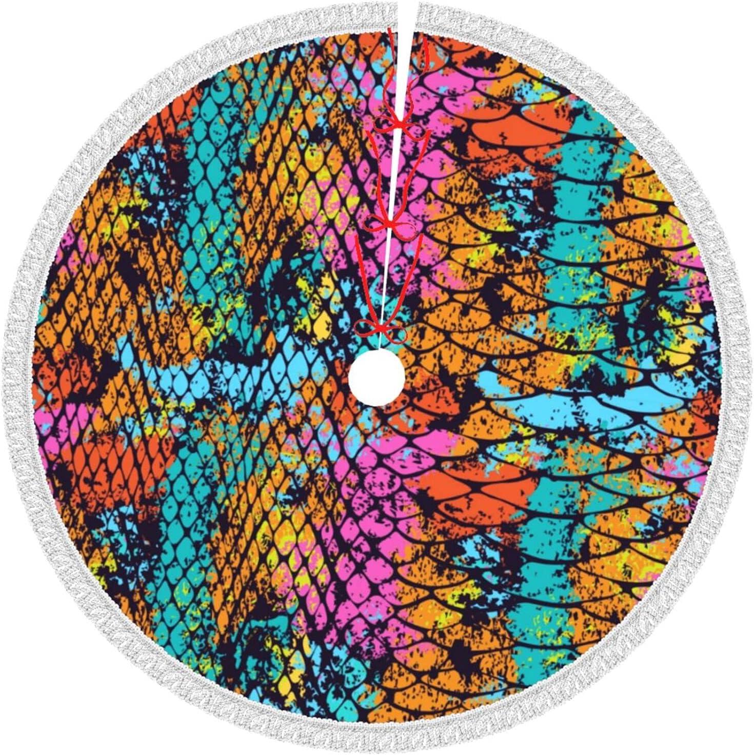Ranking TOP9 Liupokjk Tassel Christmas Tree Skirt Skin Xmas Manufacturer OFFicial shop Rainbow Tre Snake