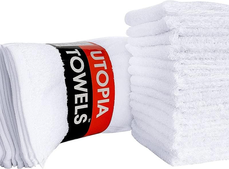 Utopia Towels Cotton Washcloths 24 Pack White