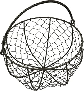 CVHOMEDECO. Round Metal Wire Egg Basket Wire Gathering Basket with Handle Country Vintage Style Storage Basket. Rusty, Di...