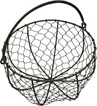 CVHOMEDECO. Round Metal Wire Egg Basket Wire Gathering Basket with Handle Country Vintage Style Storage Basket. Rusty, Dia. 8 X H 4-3/4 Inch