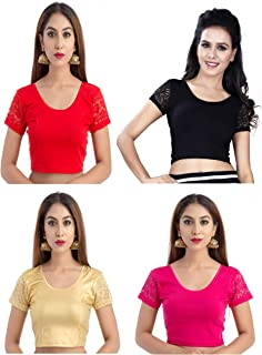 Fressia Fabrics Women's Cotton Saree Blouse StretchableCrop Top Choli pack of 4