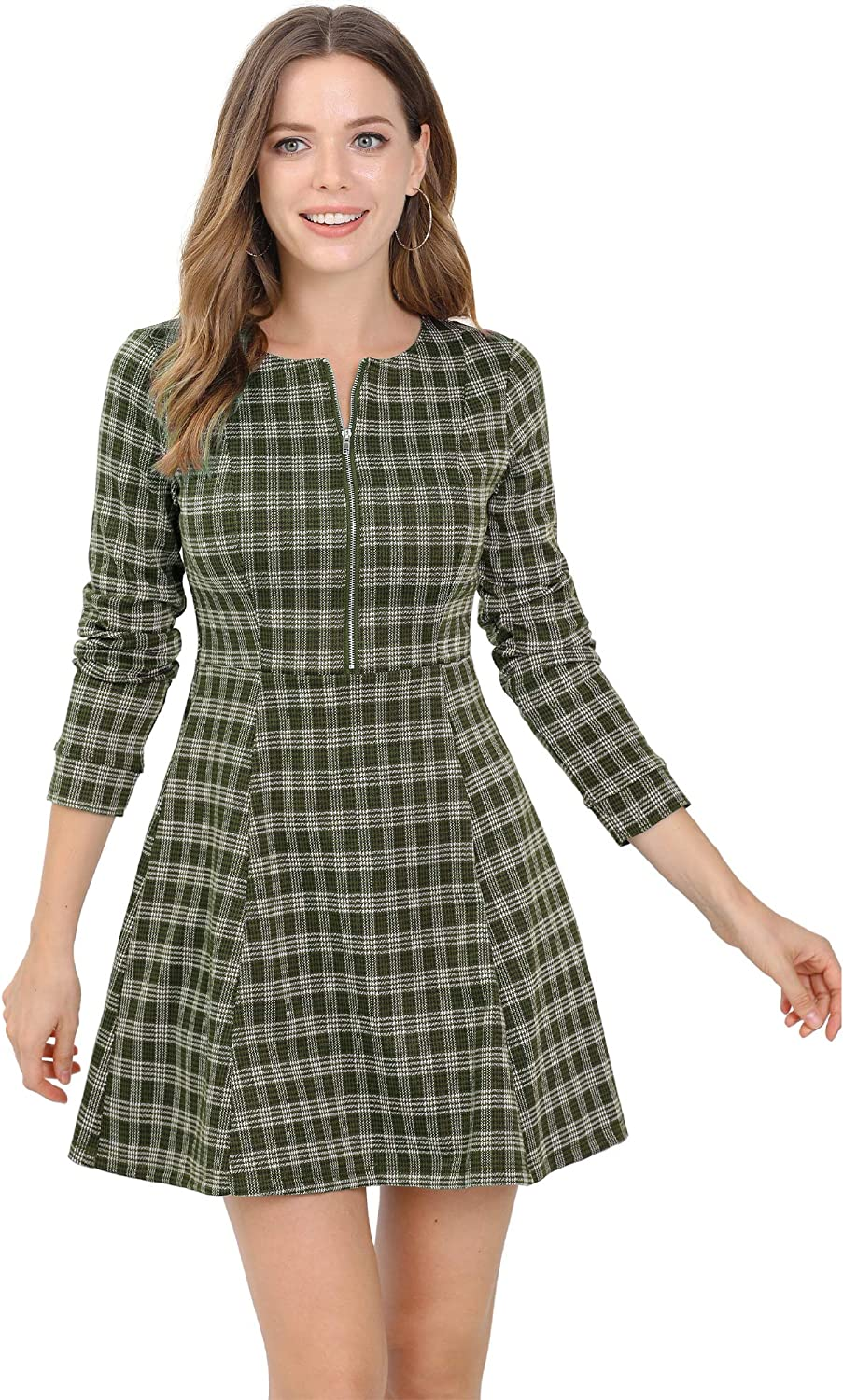 Allegra K Women's Vintage Plaid Houndstooth Long Sleeve Work Office Zip Up Fit and Flare Mini Dress