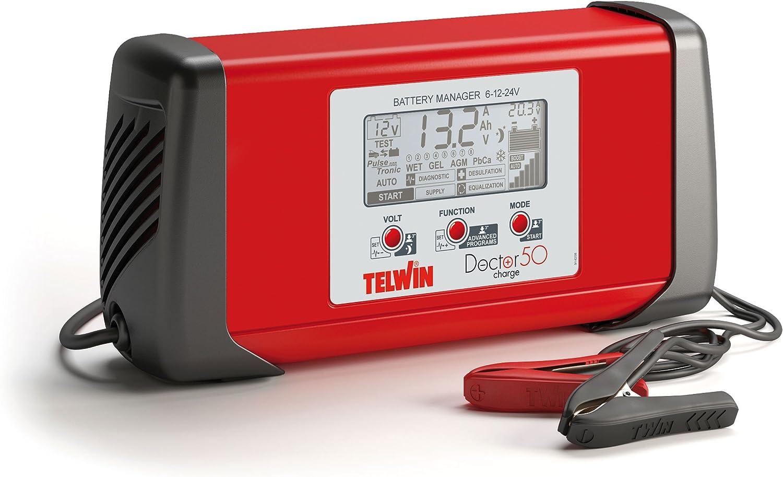 Telwin 807586 Doctor Charge 50 Pulsetronic Batterieladegerät Erhaltungsladegerät Starthilfegerät Batterie Manager 6 V 12 V 24 V Rot Schwarz Auto