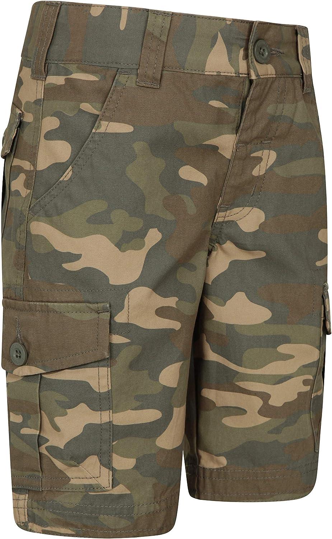 Mountain Warehouse Camo Cargo Abr/éviations de Cargaison de Mens Camo Shorts Respirables et durables d/ét/é 100/% Pantalon de Short de serg/é de Coton Pantalon l/éger