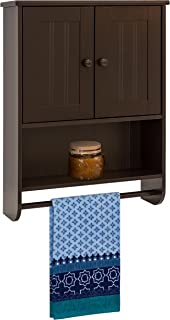 Best Choice Products Wooden Modern Contemporary Bathroom Storage Organization Wall Cabinet w/Open Cubby, Adjustable Shelf, Double Doors, Towel Bar, Wainscot Paneling, Espresso