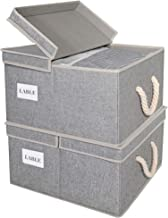 Storage Baskets With Lid And Cotton Rope Handles, Decorative Storage Boxes With Lids, Gray, 2-Pack