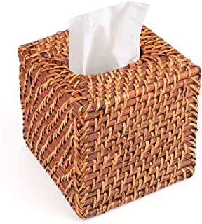 Yesland Rattan Tissue Box Cover - 5.8 x 5.8 x 5.5 Inches - Ideal for Living Room, Bedroom, Bathroom in Indoor and Outdoor ...