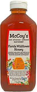 Raw Honey - Pure All Natural Unfiltered & Unpasteurized - McCoy's Honey Florida Wildflower Honey 3lb