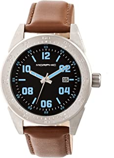 M63 Series Leather-Band Watch w/Date - Silver/Black/Brown