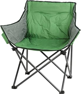 PORTAL Large Folding Camping Sofa Chair Padded Outdoor Club Chair with Cup Holder Green