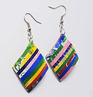 Earrings in Diamond Shape Made From Soda Can Prime upcycled eco friendly original boho art piece design vegan style recycled reclaimed salvaged handmade gift gifts artistic jewelry coca cola coke