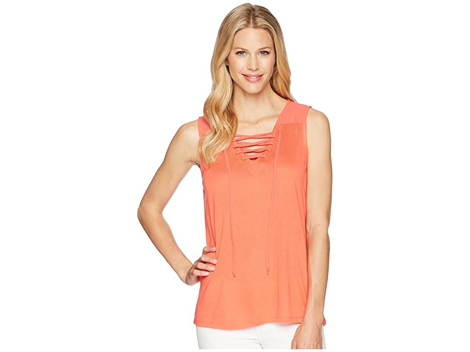 Tribal Slub Knit Lace-Up Tank Top (Coral) Women