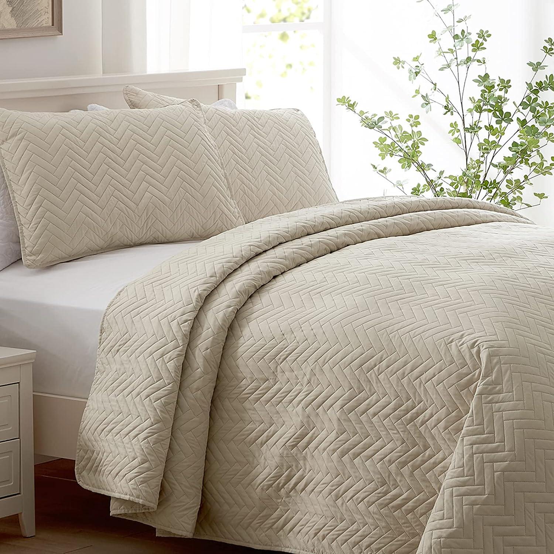 SEMECH Queen Beige Quilt, Queen Sized Bedspread, Beige Bedspread Quilt 3pcs Including 1 Quilt and 2 Shams 100''x106'' (Full / Queen, Beige)