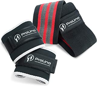 ProUno Exercise Resistance Hip Bands with Ankle Straps - Strengthen Glutes, Hips and Lower Body - Non-Slip Tri-Grip Stays Put on Your Hip with No Roll-Up During Fitness Workout - Bonus Mesh Bag