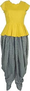 Patrorna Women's Yellow Peplum Crop Tops and Black Check Dhoti Pant / Salwar Set (Size S-7XL)