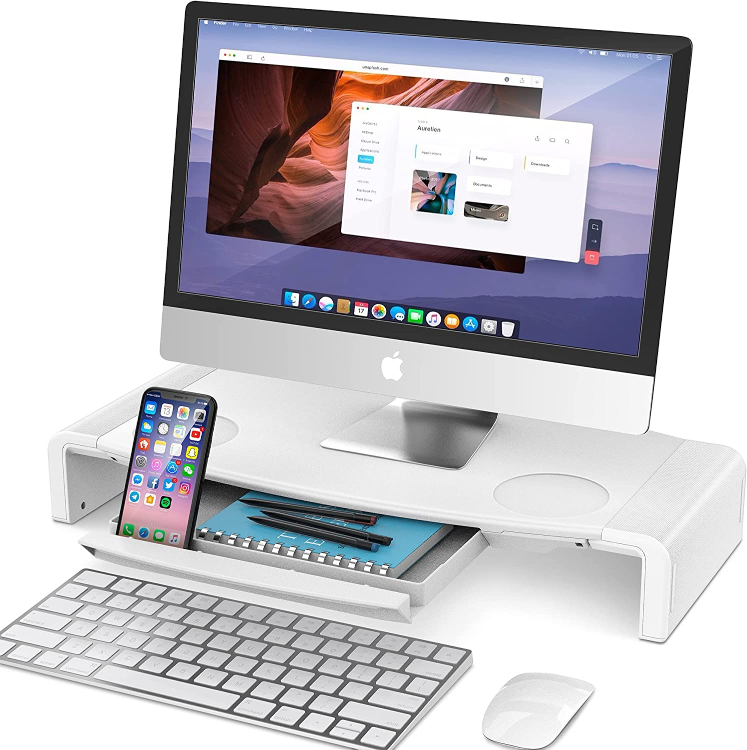 Monitor Stand Riser, AboveTEK Foldable Computer Monitor Riser, Computer Stands Desk Shelf with Storage Drawer, Phone Stand for Computer, Desktop, Laptop, Save Space (White)
