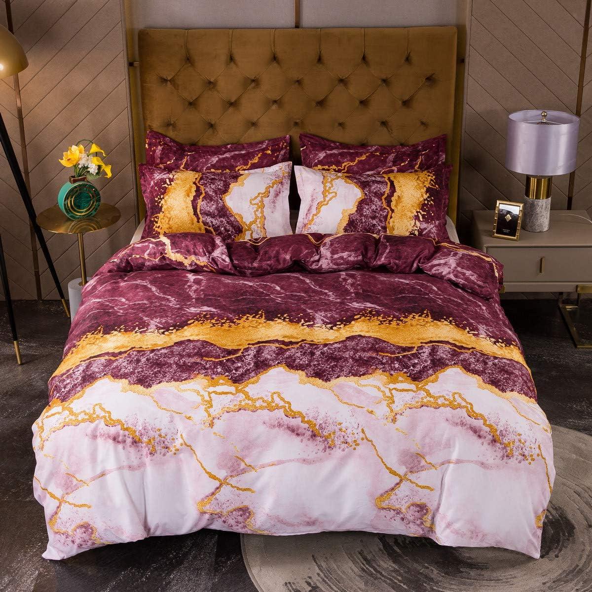 ●手数料無料!! Castle Fairy Marble Comforter Cover Glitter Burgundy King B 正規逆輸入品 Size