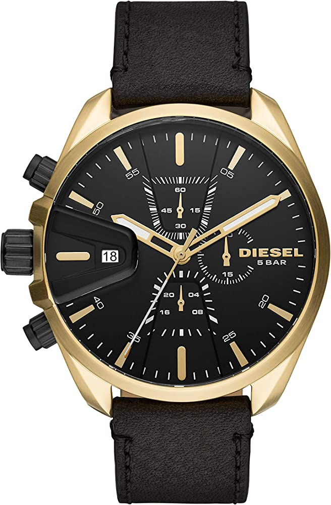 Orologio Diesel, cronografo per uomo, cassa in acciaio inossidabile,cinturino in pelle DZ4516