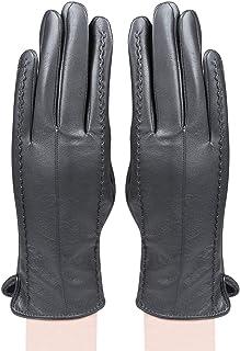 Bongio Women's Leather Gloves (Grey, Free Size)
