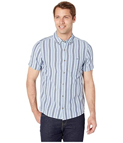 Toad&Co Mattock II Short Sleeve Shirt Slim (Dark Indigo Stripe) Men