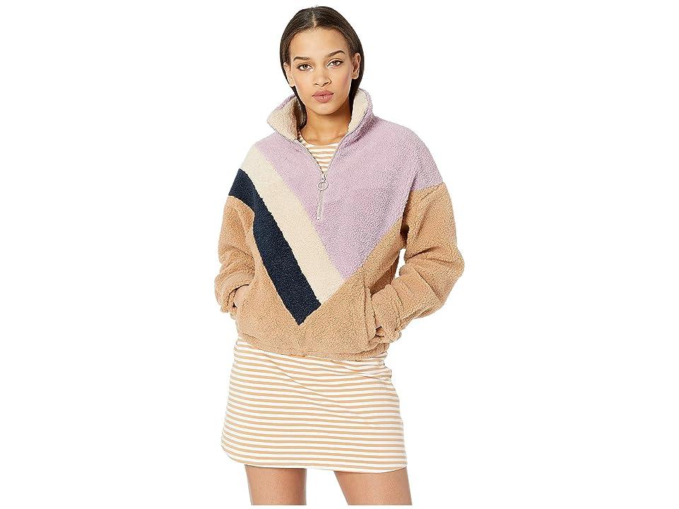 J.O.A. Faux Shearling 1/2 Zip (Lavender Stripe) Women