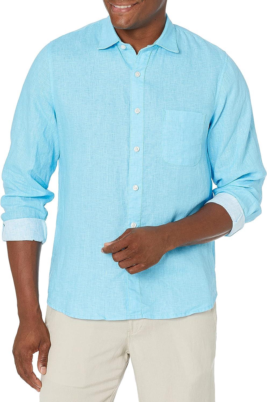 28 Palms Men's Standard-Fit Long-Sleeve 100% Linen Shirt
