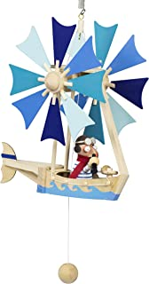 Wupper Airlines Wooden Hanging Mobile (Blue windwheel boat) by Wupper Airlines