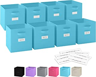 Royexe - Storage Cubes - (Set of 8) Storage Baskets | Features Dual Handles & 10 Label Window Cards | Cube Storage Bins | Foldable Fabric Closet Shelf Organizer | Drawer Organizers and Storage (Blue)