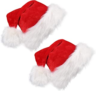 CCINEE 2 PCS Christmas Santa Hat for Adults Velvet Xmas Hat Holiday Home Decoration