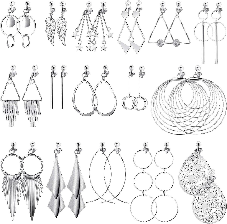 16 Pairs Clip on Earrings Jewelry Set Clip on Bohemian Earrings Clip on Hoop Dangle Drop Earrings Tassel Statement Clip-on Earrings Non Piercing Earrings for Girls Women
