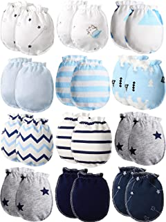 12 Pairs Newborn Baby Gloves Infant Gloves Cotton Unisex Toddler No Scratch Mittens for 0-6 Months Baby Boys and Girls