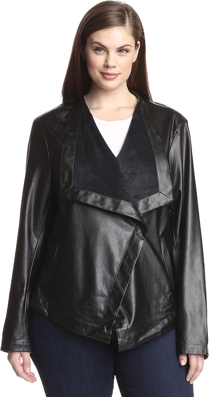 BB Dakota Womens Plus Faux Leather Open Front Jacket Black