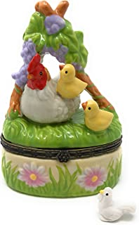Porcelain Hen and Baby Chicks Trinket Box with Tiny Trinket Inside, 3.75 Inches Tall