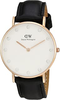 Daniel Wellington Women's 0951DW Classy Sheffield Stainless Steel Watch With Black Leather Band