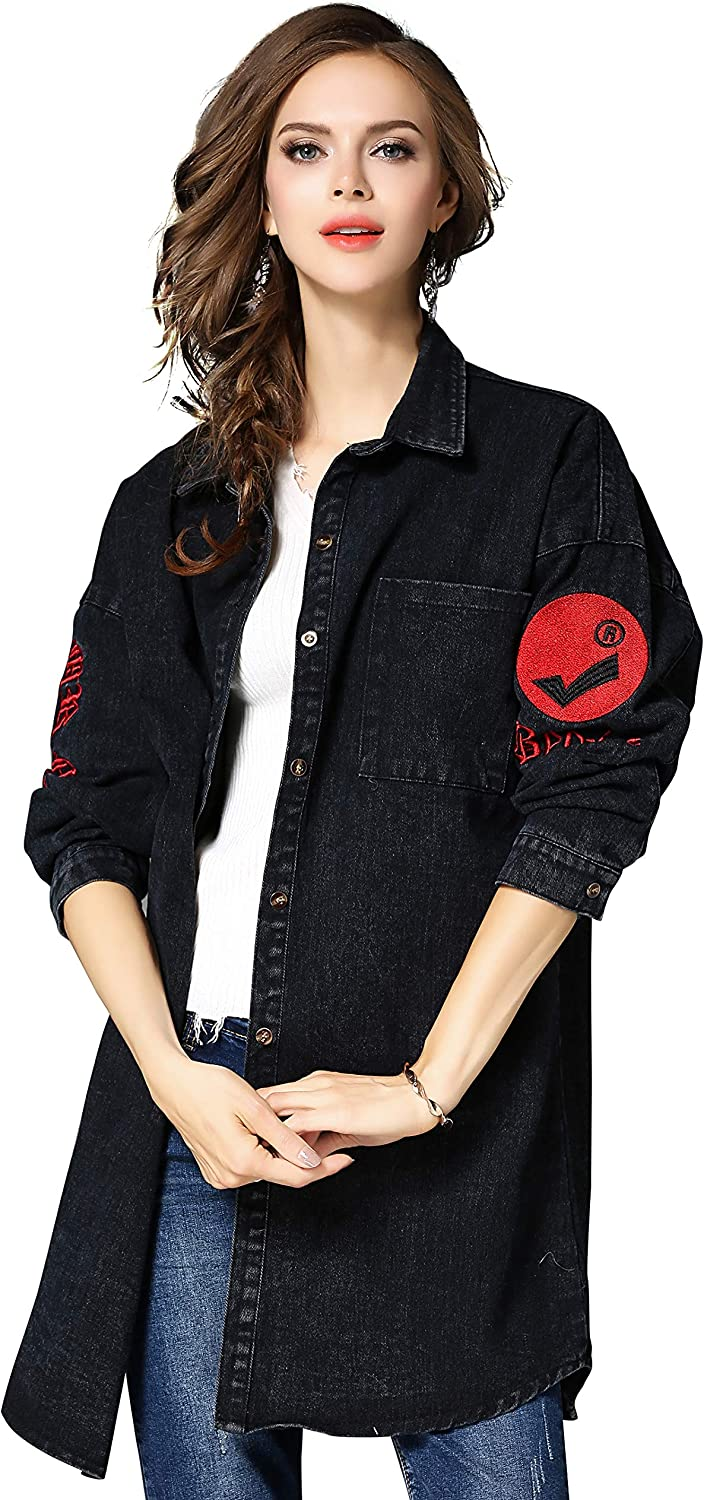 Womens Oversize Regular store Embroidered Ranking TOP9 Denim Jackets Coat Jean Down Button