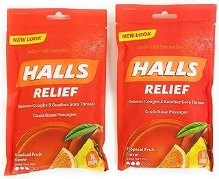HALLS Tropical Fruit Flavor Menthol Drops, 30 Per Bag (Pack of 2)