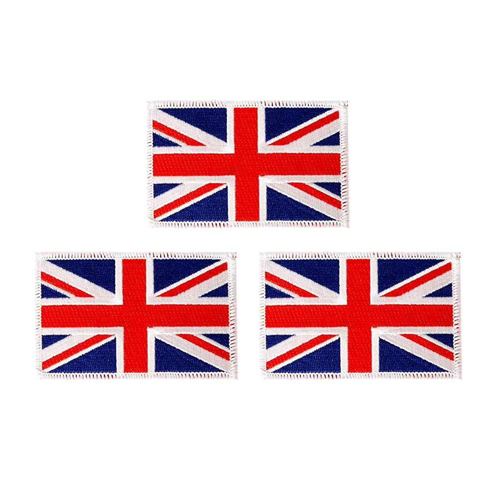 United Kingdom UK Flag Patch Bulk 3-Pack 3.5Wx2.25H State Iron On Sew Embroidered Tactical Morale Back Pack Hat Bags Great Britain (3-Pack Patch)