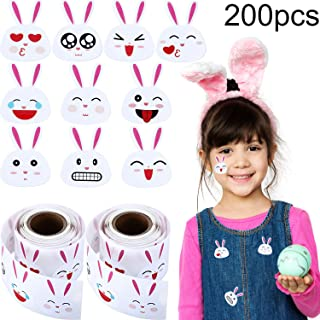 Chuangdi Easter Bunny Stickers Emoji Bunny Face Stickers, Easter Stickers 1.5 Inch 200 Labels on 2 Rolls