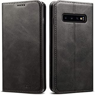 S10 Wallet Case Slim 2019,TACOO Soft Leather Kickstand Black Fold Card Money Slot Protective Cover Compatible with Samsung Galaxy S10 6.1 2019